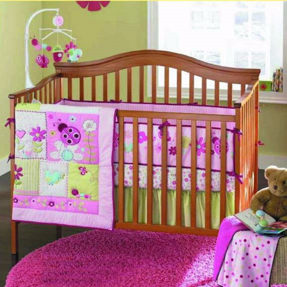 7pcs set NEW Design Crib Bedding Set Cotton Toddler Baby Bed Linens Include Baby Cot Bumpers