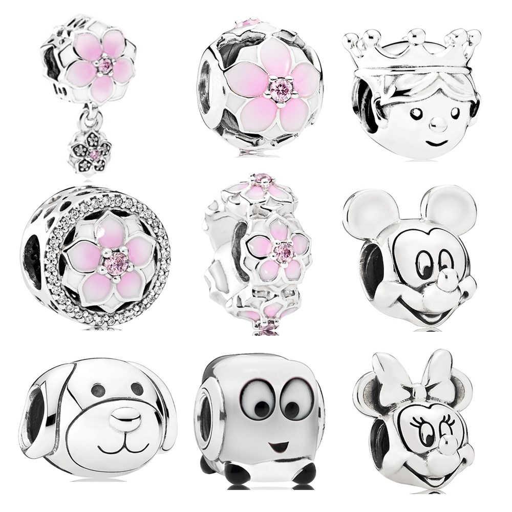 Dodocharms ดอกไม้ใหม่การ์ตูน Mickey เจ้าหญิงลูกปัด Fit Pandora Charms สร้อยข้อมือเครื่องประดับ Trinket ผู้หญิง Mak