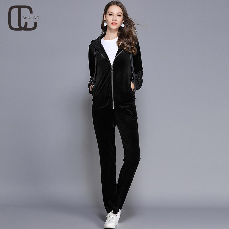 b5fa33f8366 Women Two-piece Set Floral Embroidery Velvet Zipper Hooded Tracksuit Plus  Size Suit Pants Casual Velour Elastic Waist Sportswear