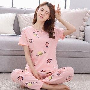 Image 2 - 여성용 잠옷 세트 여름 가을 2020 플러스 사이즈 awaii면 홈 의류 여성 잠옷 만화 여성 Homewear pijama 3XL