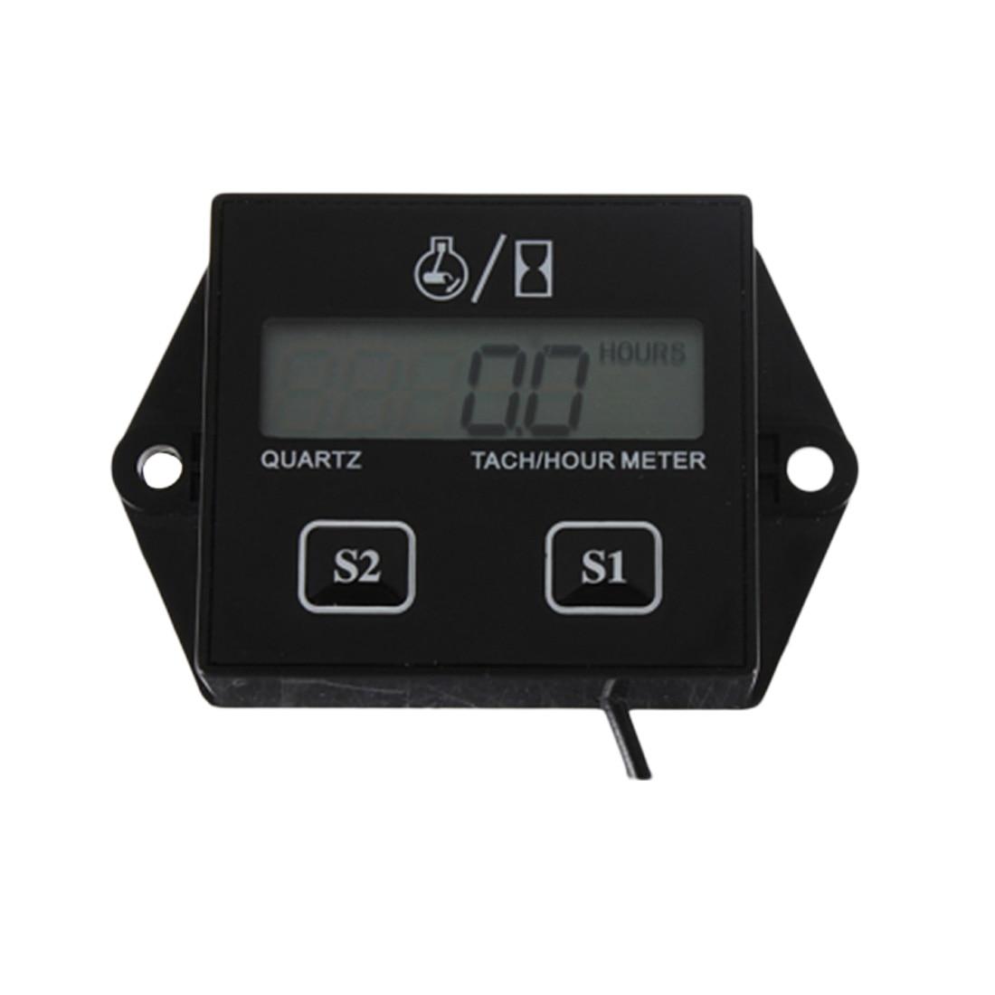 Hot 1pc High Quality Digital Engine Tech Hour Meter Tachometer Gauge Inductive For Motorcycle Motor Stroke Engine Spark цена