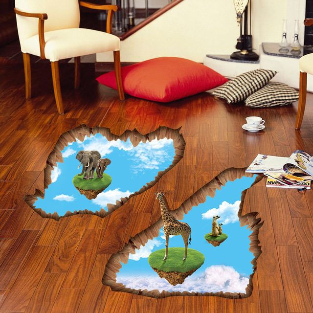 In Stock 3D Island Floor Stickers Decals Kids Home Bedroom Living Room  Decor Giraffe Elephant Mural