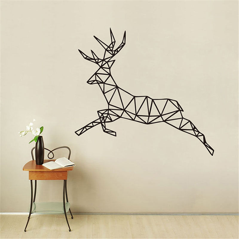 Geometric Pattern Running Deer Wall Stickers For Kids Rooms Bedroom Stickers Muraux Home Decor Pegatinas De Pared