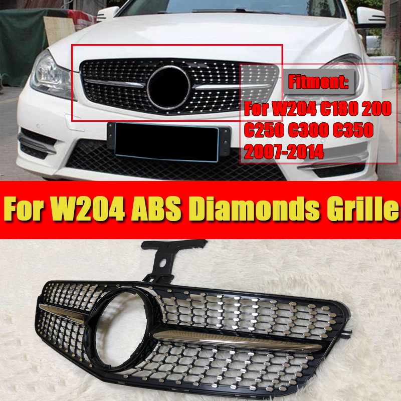 For MercedesMB W204 saloon coupe C63 look grille diamonds C class C180 C200 C250 C350 C400 grills ABS Black Without sign 07 14 in Racing Grills from Automobiles Motorcycles