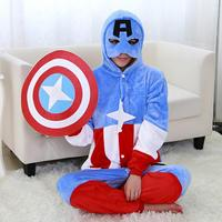 Capitán América Muchachos de Las Muchachas Pijamas Animal Cosplay Franela Pijamas Adultos Onesies Ropa de Dormir Pijama de Dibujos Animados