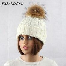 2017 Fashion Women's Winter Raccoon Fur Hats 100% Real 15cm Fur Pompom Beanies Cap Female Hat