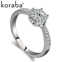 Koraba High Quality 10 Styel AAA Cubic Zirconia 925 Sterling Silver Jewelry Classic Engagement Wedding Ring