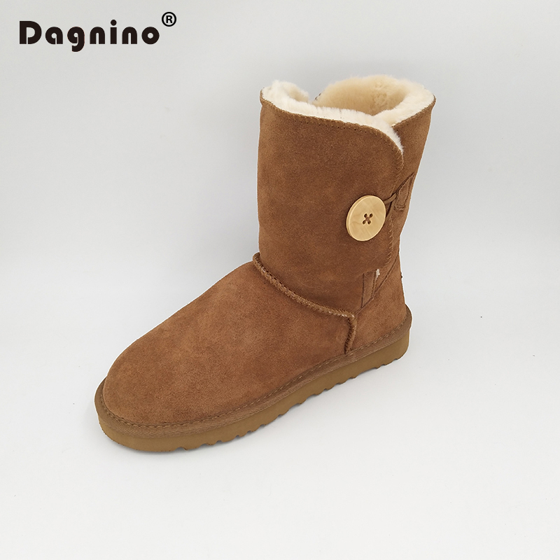 DAGNINO Lady Ankle Winter Brand Button Snow Boots Classic Ug Style Women Warm Genuine Leather High Quality Australian Shoes Bota