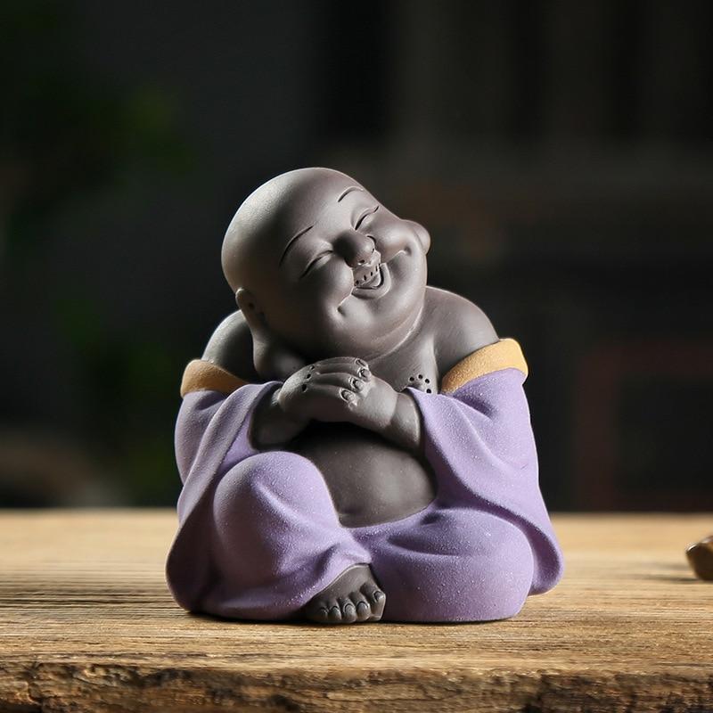 Purple Sand Tea Pet Ceramic Buddha Statues China Crafts Home Decoration Maitreya Buddha  Sculpture Teaism Accessories