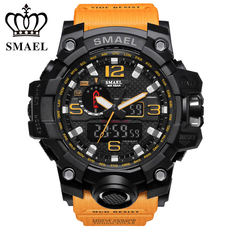 SMAEL Top Marke Heißer Verkauf Männer Sportuhren Dual Display LED Digital Analog Chronograph Armbanduhr Schwimmen Wasserdichte Mann Uhr