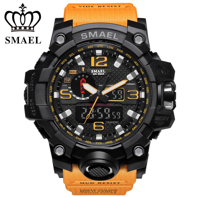 SMAEL Top Marque Vente Chaude Hommes Sport Montres Double Affichage LED Numérique Analogique Chronographe Montre-Bracelet De Natation Étanche Homme Horloge