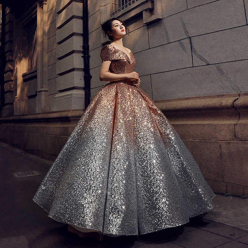 861a10237e4 ... RSM66536 floor length puffy shiny evening dress with glitter sweetheart  lace up back pleat evening party ...