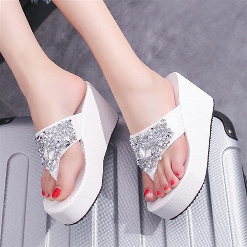 HTB1aX.nalCw3KVjSZFuq6AAOpXaY Women Sandals Summer Shoes Women's Slippers Rhinestone Wedges Flip Flops Fashion Clip Toe Beach Shoe For Women M23#30