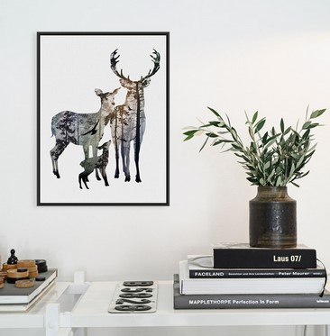 modern nordic vintage cabeza de ciervo animales familiares silueta hipster grande art print poster pared foto