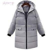 APOENG kobiety długie bawełniane płaszcz do zimnej pogody 2017 kurtka zimowa kobiet wyściełane z kapturem kurtki parka mujer loose przyczynowy LZ399