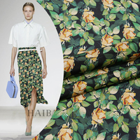 New 138cm wide 16mm 100% silk double crepe fabric Silk wide idyllic green leaf printing double skirt dress blouse