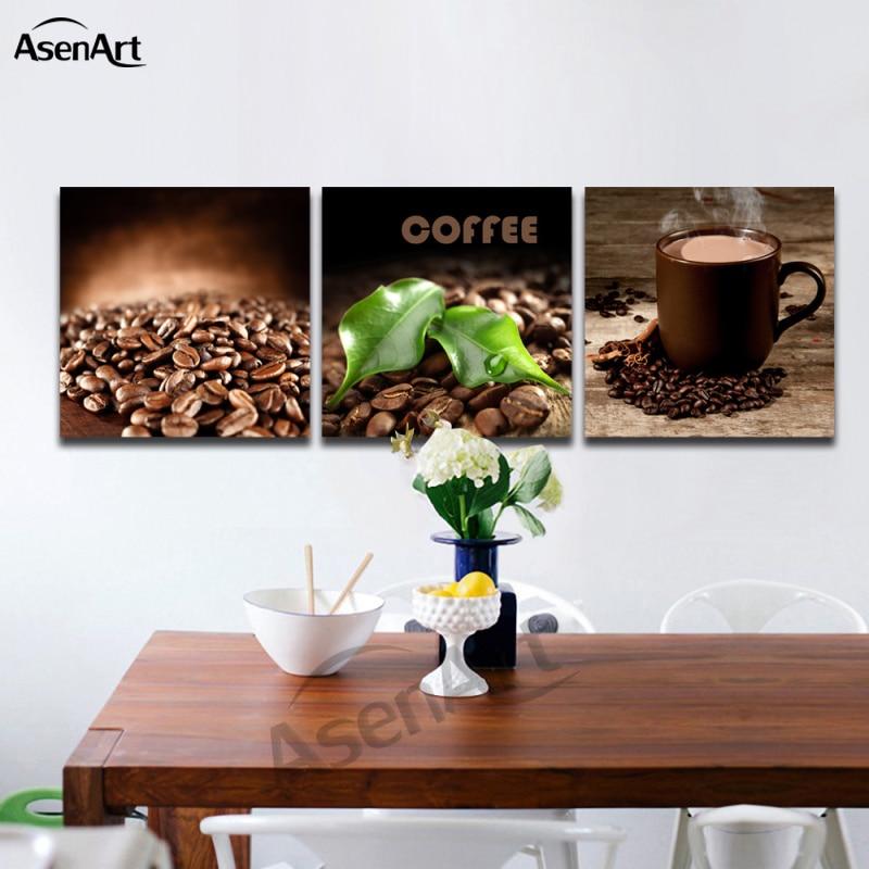 unidades de arte establece grano de caf taza cuadro de la pintura para comedor decoracin