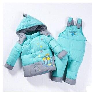 baby Children boys girls winter warm down jacket suit set thick coat jumpsuit baby clothes set