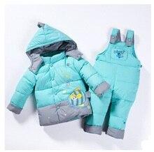 Ребенок Дети мальчики девочки зима теплая пуховая куртка костюм комплект толстые пальто + комбинезон детская одежда набор детей куртка животное Лошадь рыбы A1