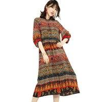 Длинное платье оригинальный дизайн личность Национальный стиль печати 2018 Женская летняя обувь шелковое платье один слой CK9302