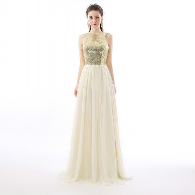 Backlackgirl High Quality Charm ChiffonTulle Top Champagne Sequin Bridesmaid  Dress Formal Prom Dress Long Special Occasion Dress 510e45220b0a