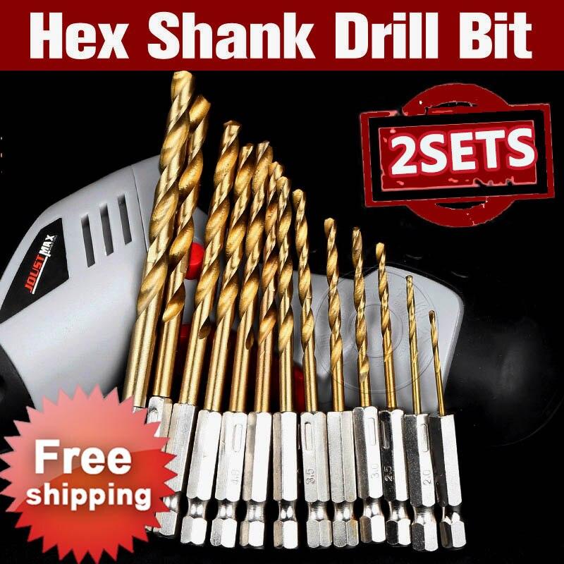 цена на 2 Sets HSS Hex Shank Drill Bit Set 1.5-6.5mm Hexagonal Screw Drills Power Tools Woodworking Tools for Wood Plastic Working