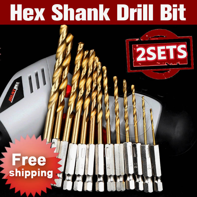 2 Sets HSS Hex Shank Drill Bit Set 1.5-6.5mm Hexagonal Screw Drills Power Tools Woodworking Tools for Wood Plastic Working