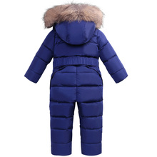 2-4 Year Baby Down Jacket Coat Boys Girls Winter Overalls Baby Rompers Jumpsuit Real Fur Collar Children Outerwear Kids Snowsuit