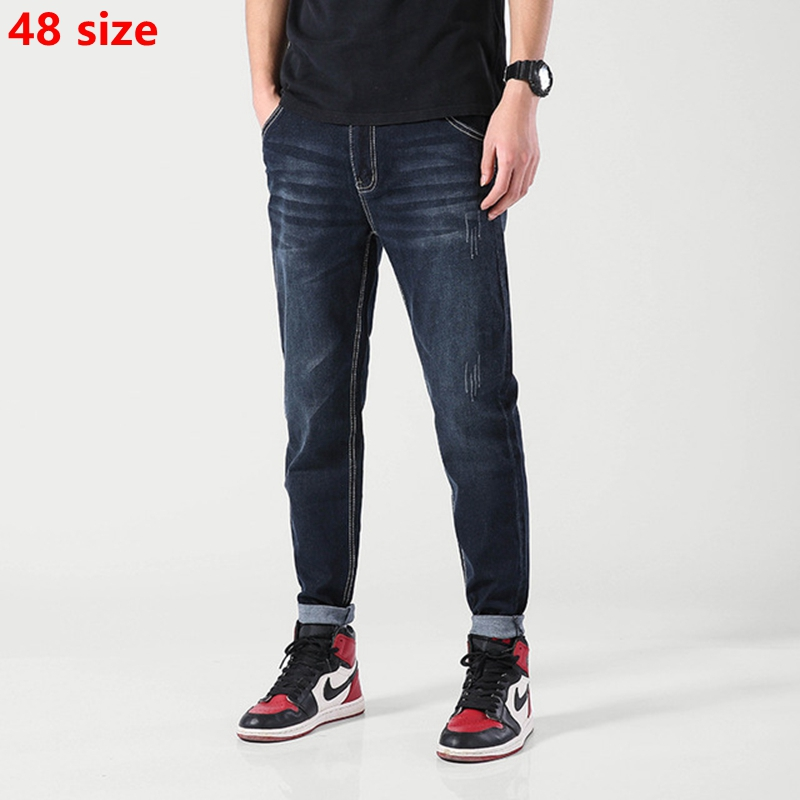 Black-blue Summer Thin Section Youth Trousers Large Size High Waist Stretch Fashion Casual Jeans Male 48 46 44 42 40 38
