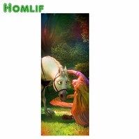 HOMLF 5D Diy Diamond Painting Crystal Girls And Horses Play Diamond Embroidery Diy Crystal Painting Cross