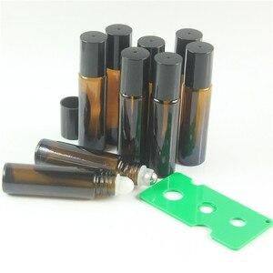 Image 2 - DHL Freies 200 teile/los 10 ml Bernstein Roll On Roller Flasche für Ätherisches Öle Nachfüllbar Parfüm Flasche Deodorant Container