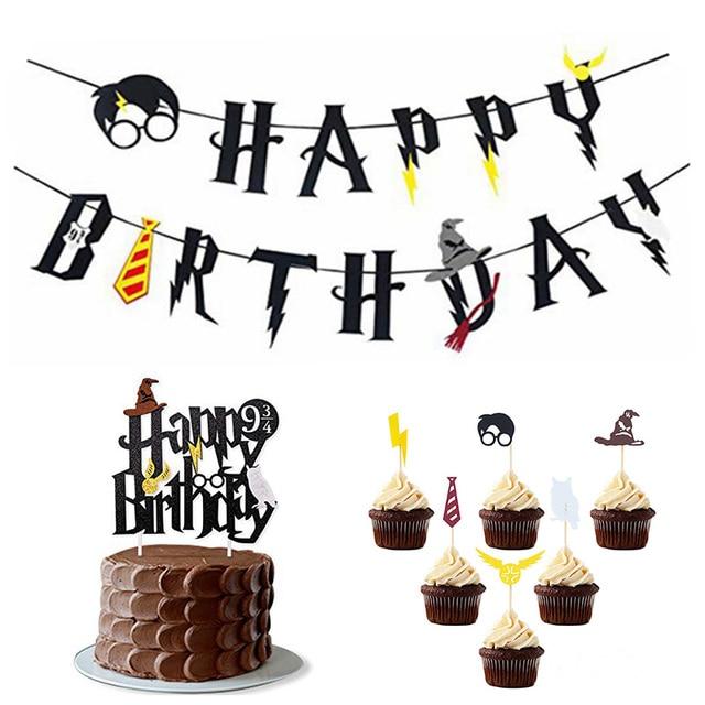 Harry Potter Happy Birthday Banner Felt Flags Bunting Garland Cake