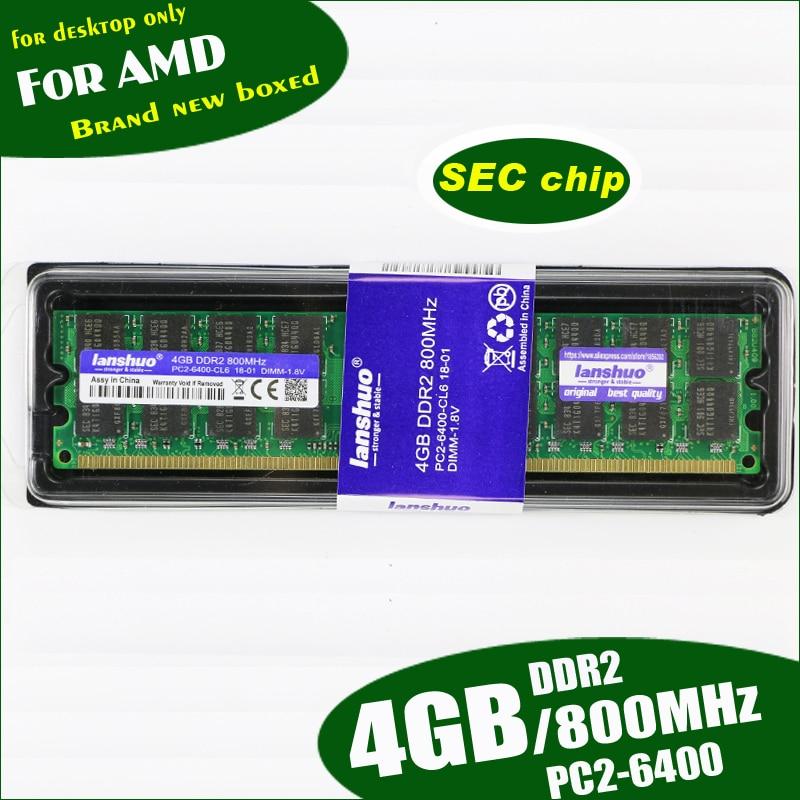 lanshuo New 4GB DDR2 PC2 6400 800MHz 4G PC2 6400 For Desktop PC DIMM Memory RAM