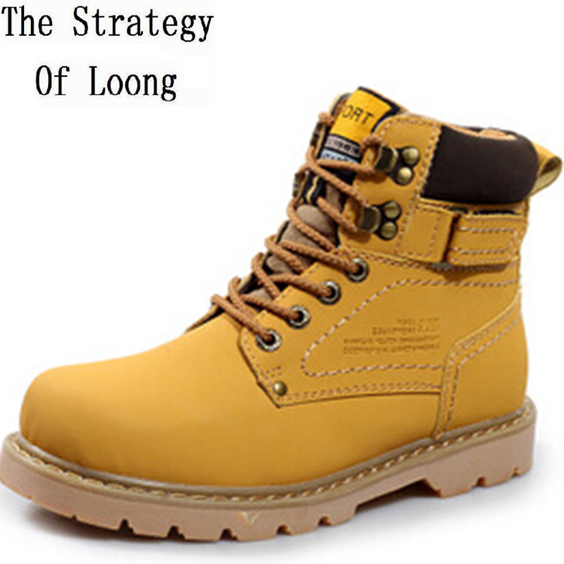 Autumn Winter Men Flats Genuine Leather Lace up Buckle Round Toe Fashion Knight Ankle Boots Plus