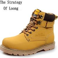 Sonbahar Kış Erkek Flats Hakiki Deri Lace Up Toka Yuvarlak Ayak Moda Şövalye Ayak Bileği Çizmeler Artı Boyutu 38-45 SXQ0713