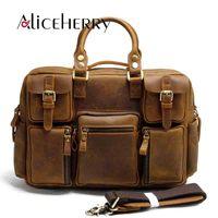 Мужская сумка для путешествий из натуральной кожи, мужская сумка из воловьей кожи, повседневная водонепроницаемая сумка большой емкости, в