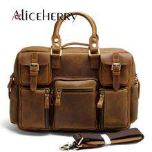 Men Genuine Leather Traveling Bag Male Cowhide handbag Casual Large-Capacity Waterproof Vintage Duffel Weekender Bag Brown