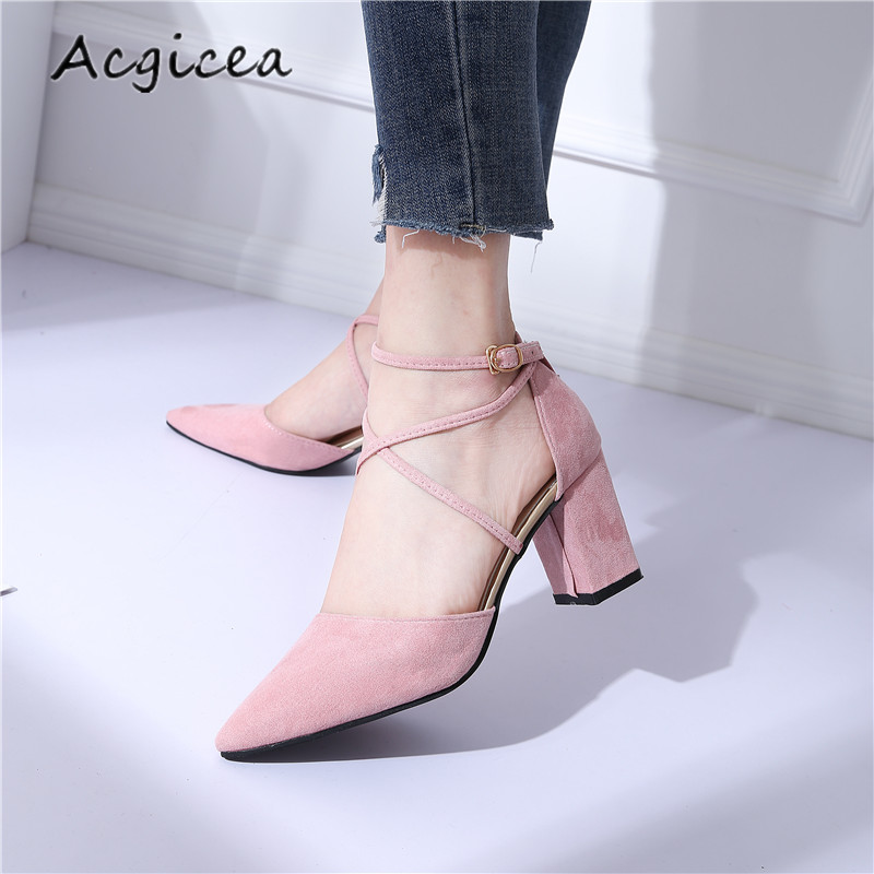 2018 New Summer Thick Heels High-heeled Women's Fashion Pointed High Heels Women Simple Shallow mouth shoes z057 women crude with a single shoe shallow mouth high heeled shoes 2018 new fashion lady shoes for women high heeled shoes spring 39
