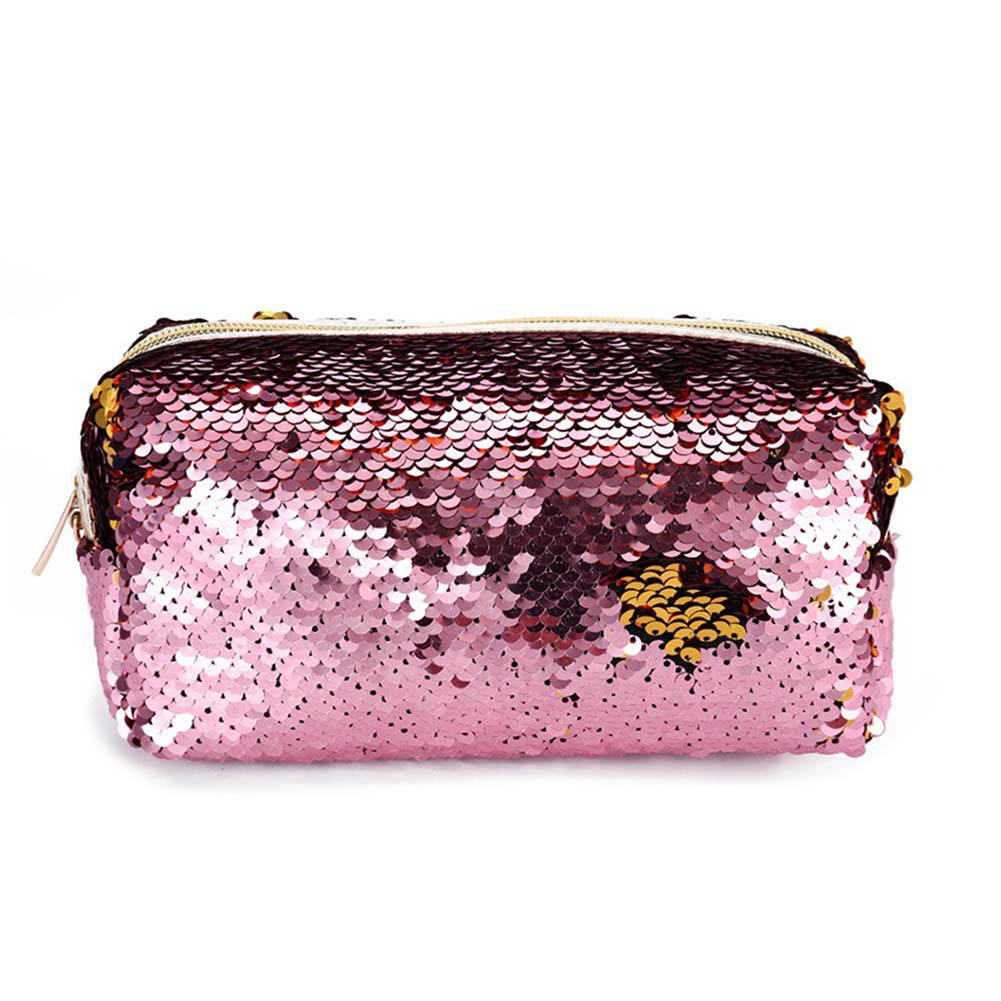 Women Sequins Glitter Makeup Case Travel Organizer Cosmetic Bags Zipper Mermaid Party Purse Pouch OH66