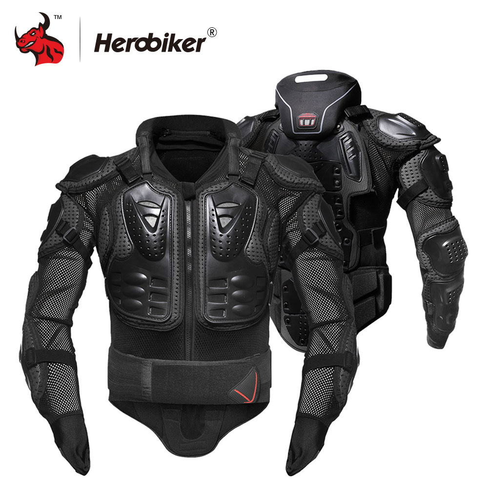 HEROBIKER Motorcycle Jacket Men Motorcycle Armor Full Body Motocross Racing Protective Gear Moto Protection S-5XL herobiker motorcycle jackets men motorcycle armor protection body protective gear motocross motorbike jacket with neck protector