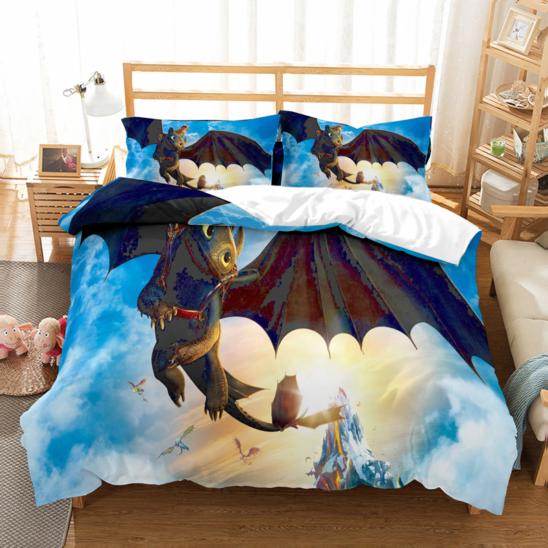 How to train your dragon 3D printed children bedding set Duvet Covers Pillowcases Toothless Night Fury comforter bedding sets(China)