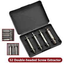 Remover Bolt Stud Tool 4PCS/Set Double Side Damaged Screw Extractor Drill Bits Out free shipping 4pcs set double head s2 made damaged screw stud bolt extractor remover set easy out drill tool kit 1 4 hex shank page 7
