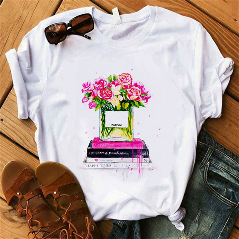 Vogue Perfumer Floral T Shirt Women Summer Shirt Lady Coffee High Heel Holiday Casual T-shirt Female Clothing