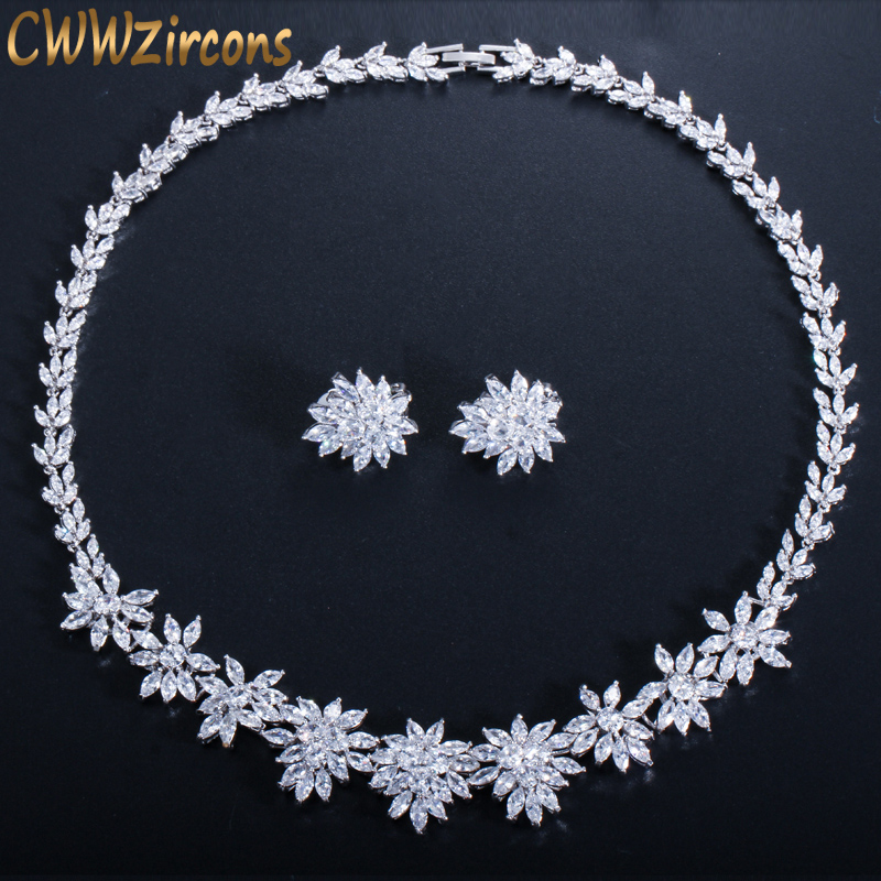 CWWZircons Luxury Cubic Zircon Flower Necklace and Clip on Earrings Sets for Wedding Bridal Party CZ