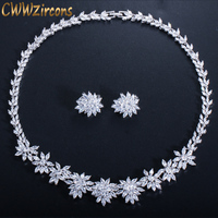 CWWZircons Luxury Cubic Zircon Flower Necklace and Clip on Earrings Sets For Wedding Bridal Party CZ Jewelry Accessories T149
