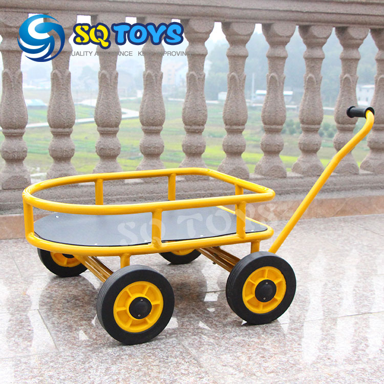 ФОТО Indoor and Outdoor Yellow Kids Hand Pushed Car New Style Fitness Four  Wheels Pedal for  Safte Baby Trolley