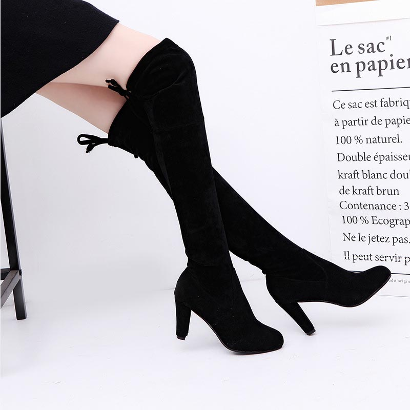 Sexy Thin Square Heels Over The Knee Boots Winter Stretch High Long Boot Woman Plus Size 34-43 Womens Shoes
