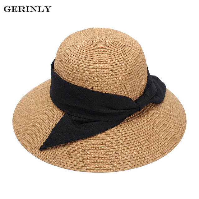 9029cdc41f3 GERINLY Brand Sun Hat Big Bow Wide Brim Summer Hats for Women Lady Beach  Panama Straw Bucket Hat Sun Protection Visor Cap