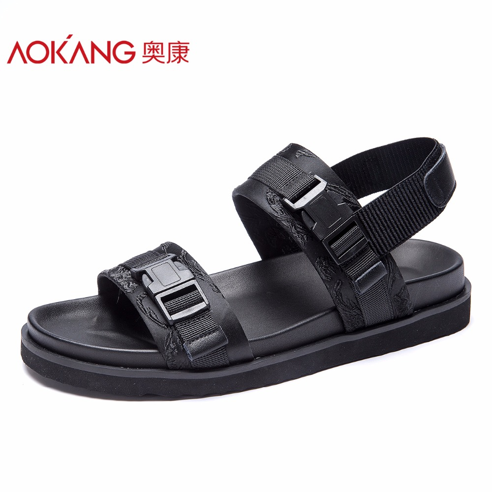AOKANG 2018 Summer men shoes comfortable breathable men sandals flat concise shoes man leisure beach shoes high quality