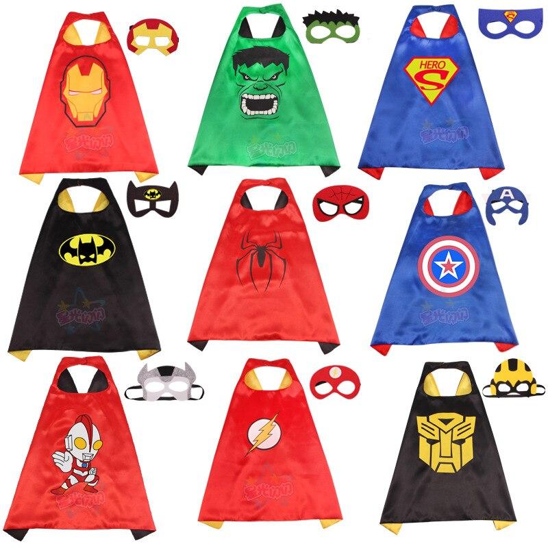 Updated Children's Cloak COSPLAY Avengers Alliance Hero Superman American Captain Batman Spider-Man Printed Cloak Drama Costume